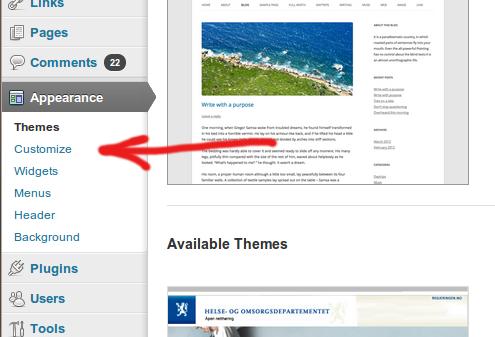 New theme customizer link in WordPress 3.6