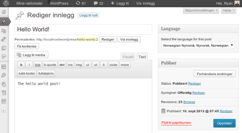 Multi-lingo WordPress plugin screenshot
