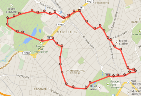 View of my running route as tracked by Google Click the map to see uAFhPFvu
