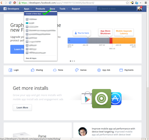 Creating a Facebook application screenshot #1