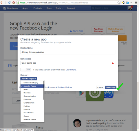 Creating a Facebook application screenshot #2