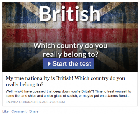 "Click bait link for ""Which country do you really belong to?"" quiz."