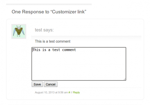 Example of AJAX Edit Comments in action, showing some of the extra features present in this plugin.
