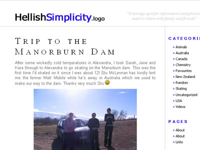 Hellish Simplicity WordPress theme: Blue version
