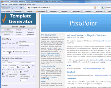 Screenshot of the PixoPoint template generator